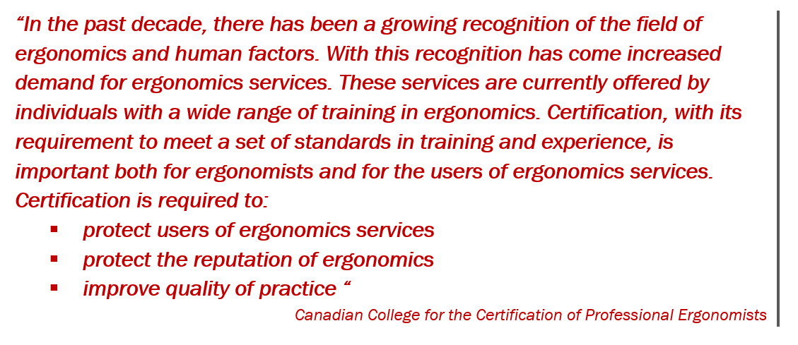 Is Your Ergonomics Service Provider Certified In North America